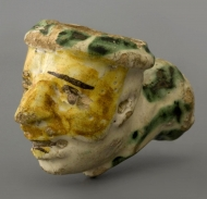 A portrait pipe in faience