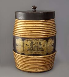 A tobacco barrel with vignette
